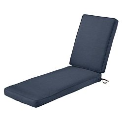 Classic Accessories Montlake Chaise Cushion Foam & Slip Cover, Heather Indigo, 72x21x3″ ...