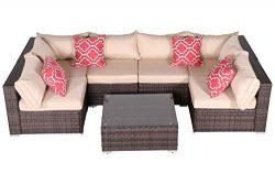 Do4U 7 Pieces Outdoor Patio PE Rattan Wicker Sofa Sectional Furniture Set Conversation Set- Turq ...