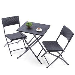 TAVR Patio Bistro Set, 3 Piece Weather Resistant Garden Table and Chairs, Black