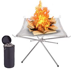 Suchdeco Portable Outdoor Fire Pit – 2019 New Upgrade,16.5 Inch Camping Stainless Steel Me ...
