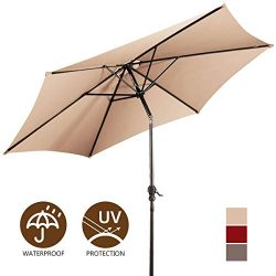 Giantex 9ft Market Patio Umbrella, Outdoor Table Umbrella w/Push Button Tilt and Crank, 180G Pol ...