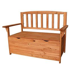 HomVent Wood Patio Storage Bench Garden Storage Bench Seat, Outdoor Patio Furniture Cabinet Stor ...