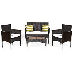 Tangkula 4 PCS Patio Outdoor Conversation Set with Glass Coffee Table, Loveseat & 2 Cushione ...