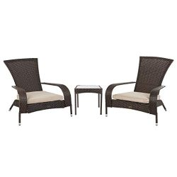 Patio Sense 62966 Coconino Adirondack Chat Conversation Set, Mocha
