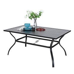 MF Outdoor Metal Dining Table Garden 6 Person Umbrella Table for Lawn Patio Pool Sturdy Steel Fr ...