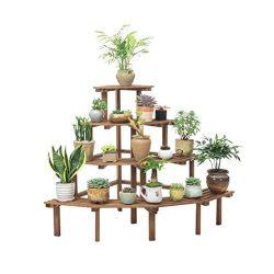 RJJX Home Multi-Layer Flower Gardening Solid Wood Flower Stand Indoor Patio Storage Rack Outdoor ...