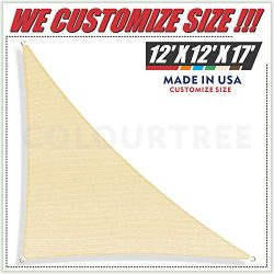 ColourTree 12′ x 12′ x 17′ Beige Sun Shade Sail Right Triangle Canopy Awning S ...