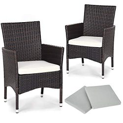 TANGKULA Set of 2 Patio Chairs, Outdoor Wicker Dining Chairs with Removable Cushions, Armchairs  ...