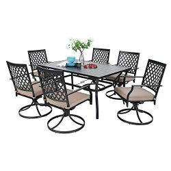 MF Outdoor Patio Dining Set 7 Pieces Metal Furniture Set, 6 x Swivel Chairs with 1 Rectangular U ...