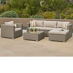 SUNCROWN Outdoor Furniture 6-Piece Sofa and Chair Set All-Weather Wicker with Grey Seat Cushions ...