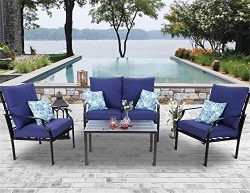 PHI VILLA 4 PC Outdoor Patio Furniture Padded Deep Seating Conversation Set with 1 Loveseat, 2 S ...