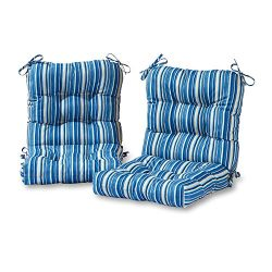 Greendale Home Fashions Outdoor Seat/Back Chair Cushion in Coastal Stripe (set of 2), Sapphire