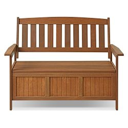 Furinno FG17353 Tioman Outdoor Hardwood Patio Furniture Kent Storage Bench in Teak Oil, Natural