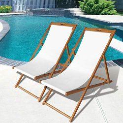 Beach Sling Chair Set Patio Lounge Chair Outdoor Reclining Beach Chair Wooden Folding Adjustable ...