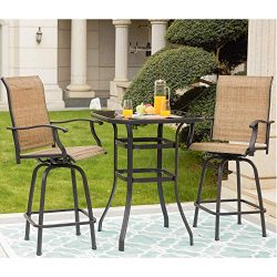 LOKATSE HOME 3 Piece High Swivel Bar Stools Sets with 2 Tall Patio Chairs and Height Outdoor Bis ...
