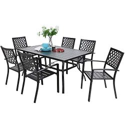 PHIVILLA 7 Piece Metal Outdoor Patio Dining Bistro Sets with Umbrella Hole – 60″ x 3 ...