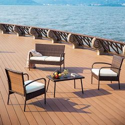PAMAPIC Outdoor Patio Furniture Sets 【PS Board Table】 4 Pieces, Brown Embossing PE Rattan Wick ...