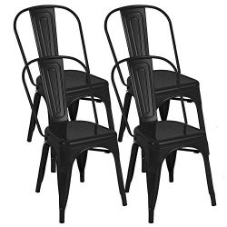 BONZY HOME Metal Dining Chairs, Stackable Side Chairs with Back, Indoor Outdoor Use Chair for Fa ...