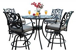 CBM Outdoor Patio Furniture 5 Piece Aluminum 48″ Bar Table Set with 4 Swivel Bar Stool cbm1290