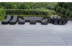 Genuine Ohana Outdoor Sectional Sofa and Dining Wicker Patio Furniture Set with Free Patio Cover ...