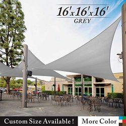 Royal Shade 16′ x 16′ x 16′ Gray Triangle Sun Shade Sail Canopy Awning Outdoor ...