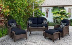 Hanover Outdoor Newport 6-Piece Woven Seating Set, Navy Blue