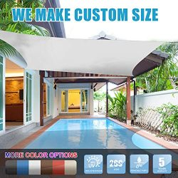 Amgo 12′ x 16′ White Rectangle Sun Shade Sail Canopy Awning, 95% UV Blockage, Water  ...
