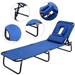 Dawndior Chaise Folding Chair Adjustable Beach Patio Lounge Recliner, Blue