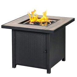BALI OUTDOORS Propane Gas Fire Pit Table, 30 inch 50,000 BTU Square Gas Firepits with Fire Glass ...