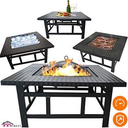 Fire Pit Table Outdoor Set – 32 Inch Diameter Square Fireplace – Multifunctional Gar ...