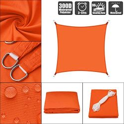 HHJJ Orange Shade Sail Rectangle Waterproof Sun Shade Canopy for Patios Square UV Block Awning T ...
