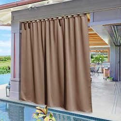 NICETOWN Patio Outdoor Curtain Panel Extra Wide, Vertical Blinds Thermal Insulated Tab Top Black ...
