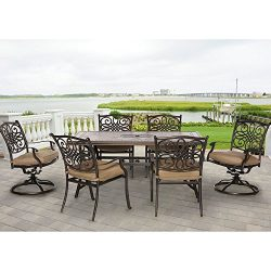 Hanover MONDN7PCSW-2 Monaco 7-Piece Rust-Free Aluminum Patio Dining Set Outdoor Furniture, Tan