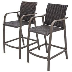 Crestlive Products Counter Height Wicker Bar Stools All Weather Patio Furniture with Heavy Duty  ...