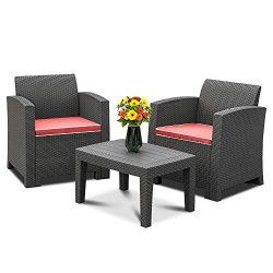 Bonnlo 3pcs Garden Furniture Set with Washable Seat Cushions, Plastic Wicker Pattern Patio Furni ...