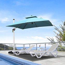 PURPLE LEAF 9 Feet Double Top Deluxe Square Patio Umbrella Offset Hanging Umbrella Cantilever Um ...