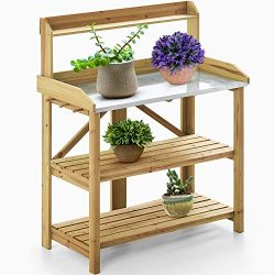 kealive Potting Bench for Outside Solid Wood Foldable Garden Potting Table Outdoor with Metal Ta ...