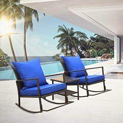 Rattaner Outdoor 3 Piece Wicker Rocking Chair Set Patio Bistro Set Conversation Furniture -2 Roc ...