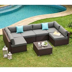 COSIEST 7-Piece Outdoor Patio Furniture Chocolate Brown Wicker Executive Sectional Sofa w Dark G ...