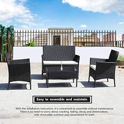 DIMAR garden 4-Piece Outdoor Rattan Patio Furniture Sectional Chair Wicker Patio Furniture Conve ...