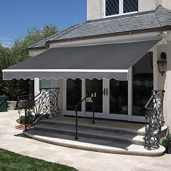 MCombo 10×8 Feet Manual Retractable Patio Door Window Awning Sunshade Shelter Outdoor Canop ...