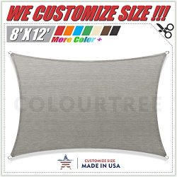 ColourTree 8′ x 12′ Grey Rectangle Sun Shade Sail Canopy Awning Shelter Fabric Cloth ...