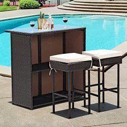 Tangkula Patio Bar Set, 3 Piece Outdoor Rattan Wicker Bar Set with 2 Cushions Stools & Glass ...