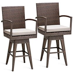 Tangkula Outdoor Bar Stool Patio Garden Pool Backyard Swivel Cushioned Stool Furniture with Armr ...