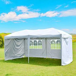 charaHOME 10×20 Outdoor Canopy Tent,10 X 20 Ez Up Pop Up Tent,Adjustable Folding Gazebo Pav ...