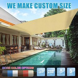 Amgo 8′ x 12′ Beige Rectangle Sun Shade Sail Canopy Awning, 95% UV Blockage, Water & ...