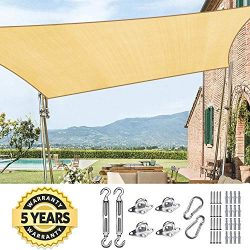 Quictent 185HDPE Rectangle Sun Shade Sail Outdoor Patio Lawn Garden Canopy Top Cover 98% UV-Bloc ...