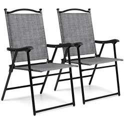 Best Choice Products Set of 2 Outdoor Mesh Fabric Folding Sling Back Chairs for Backyard, Picnic ...