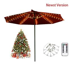 Newst Version Patio Umbrella String Lights, 104 LEDs 8 Lighting Mode with Remote Control Battery ...
