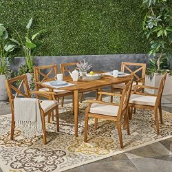 Great Deal Furniture Byrd Outdoor 7 Piece Acacia Wood Dining Set, Teak and Crème